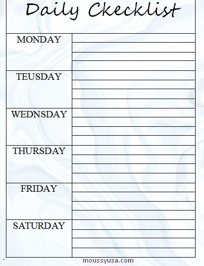 daily checklist template free word
