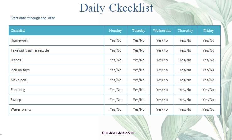daily checklist word template free