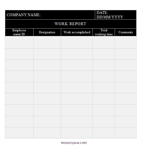 daily report template in word design