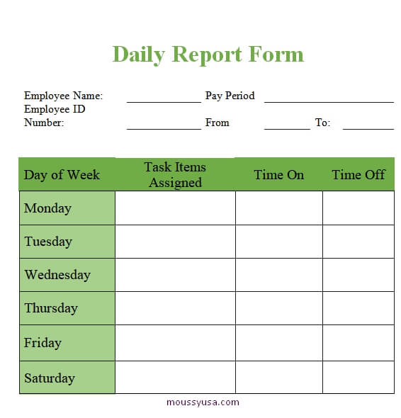 daily report template in word free download