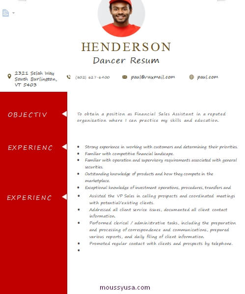 dance resume customizable word design template