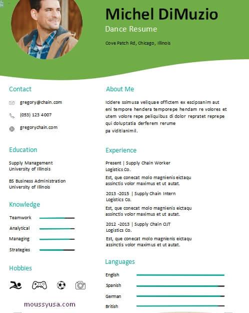 dance resume free download word