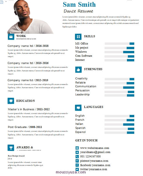 dance resume free word template