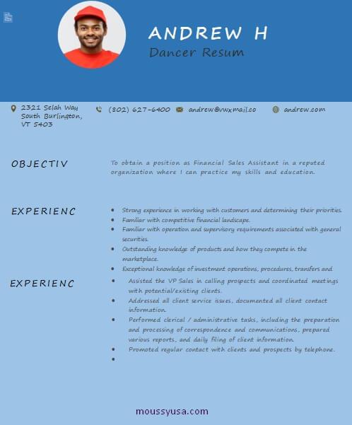 dance resume in word design