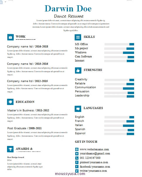 dance resume template for word