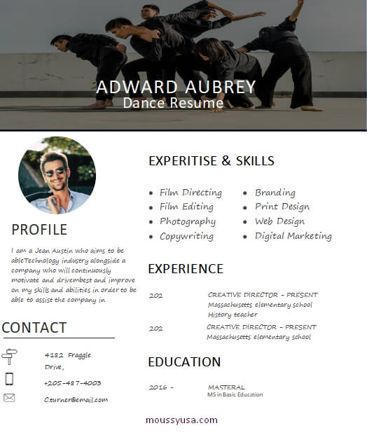 dance resume template free word
