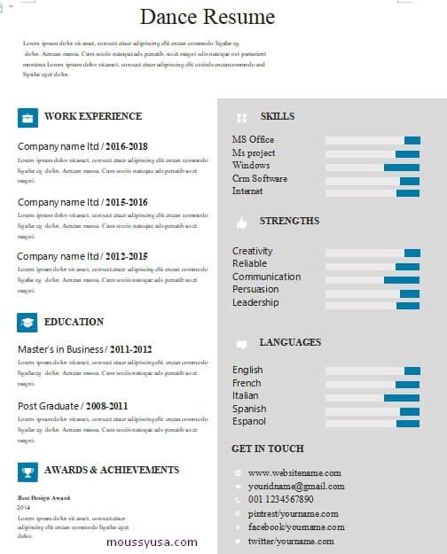 dance resume word template free
