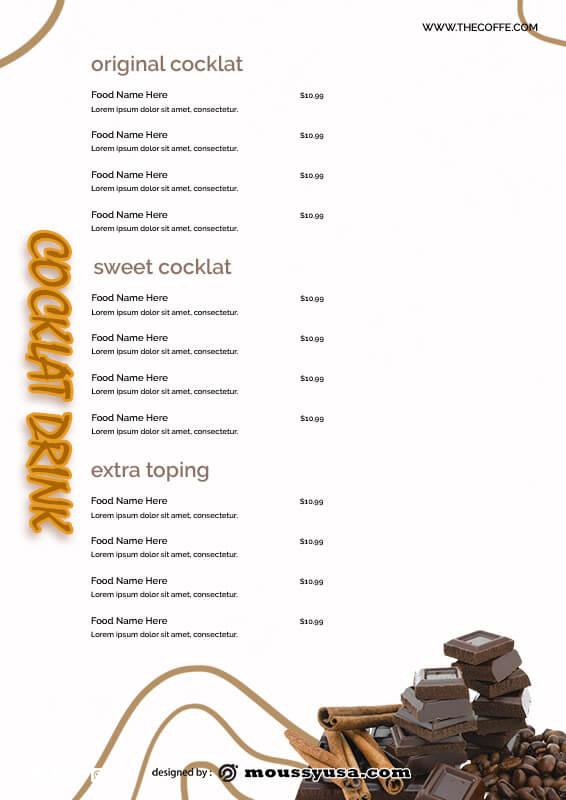 drinks menu customizable psd design template