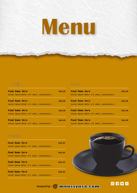 drinks menu example psd design