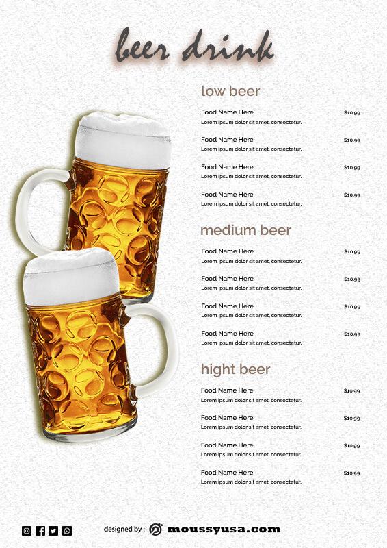 drinks menu free download psd