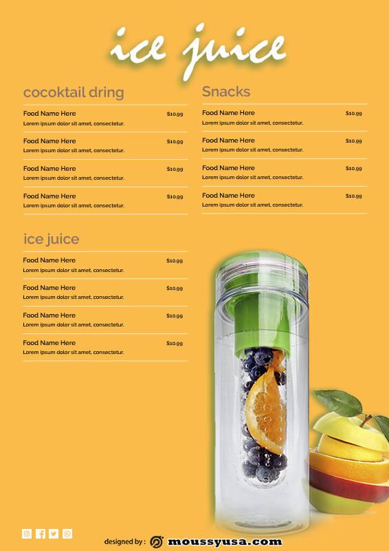 drinks menu free psd template