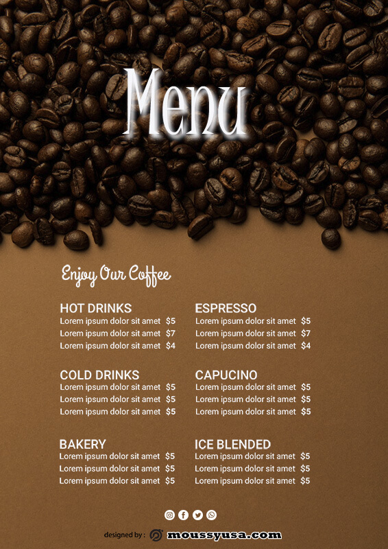 drinks menu in photoshop free download