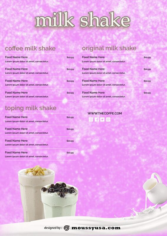 drinks menu in photoshop