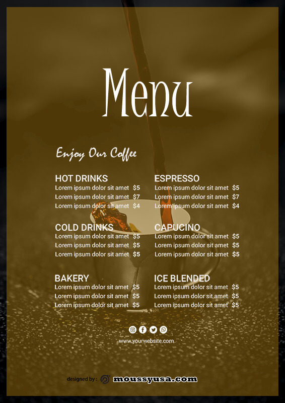 drinks menu in psd design
