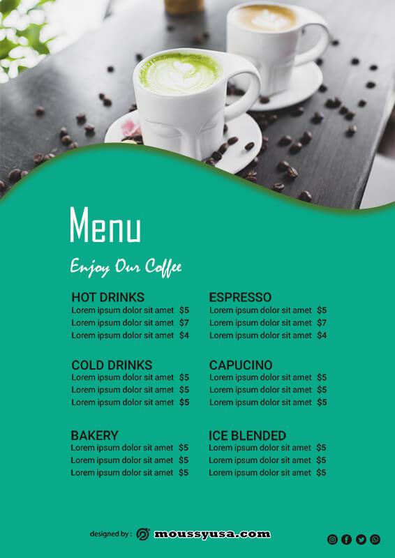 drinks menu psd template free