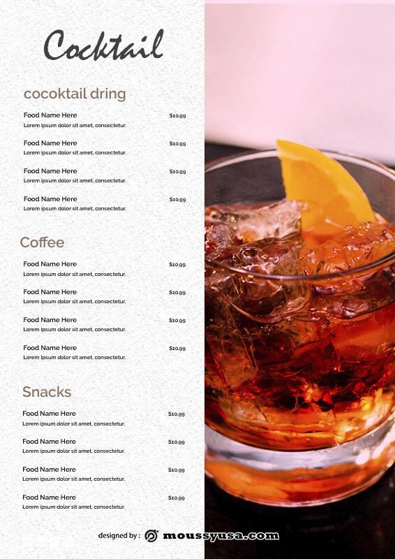 drinks menu template free psd