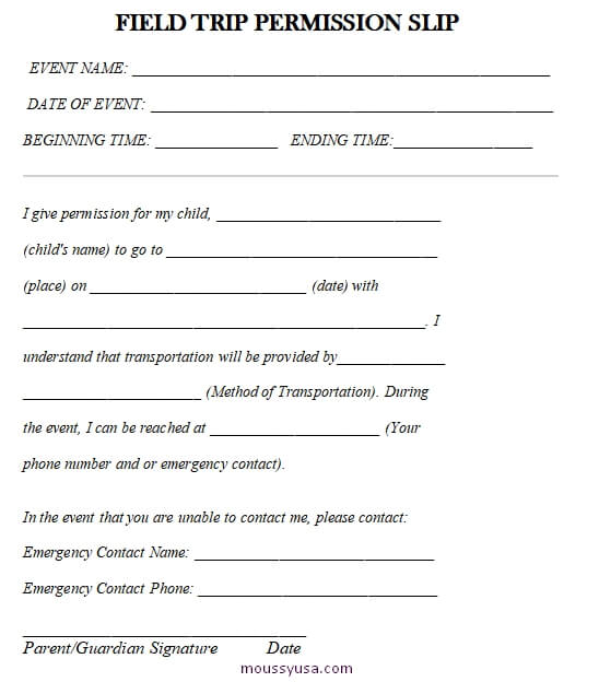 field trip permission slip customizable word design template