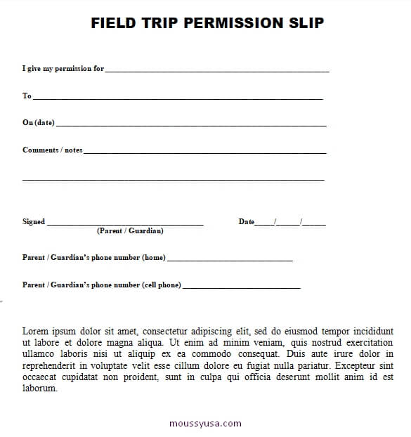 field trip permission slip in word 001