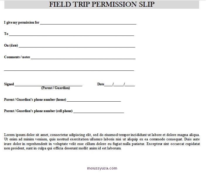 field trip permission slip template free word