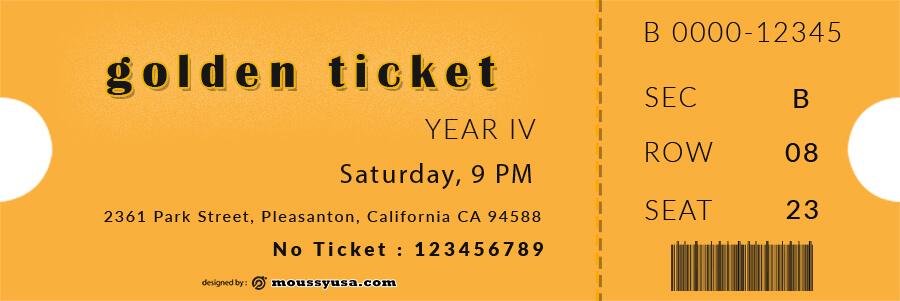 golden ticket templates example psd design