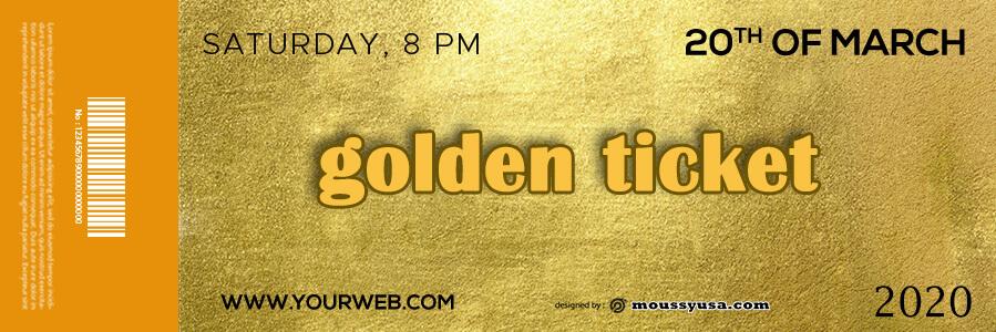 golden ticket templates free psd template