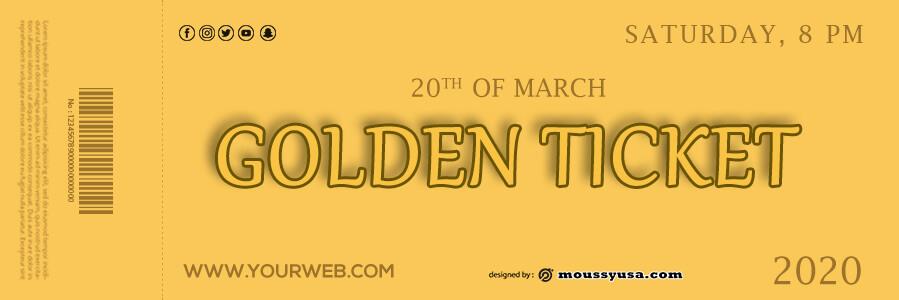 golden ticket templates in psd design