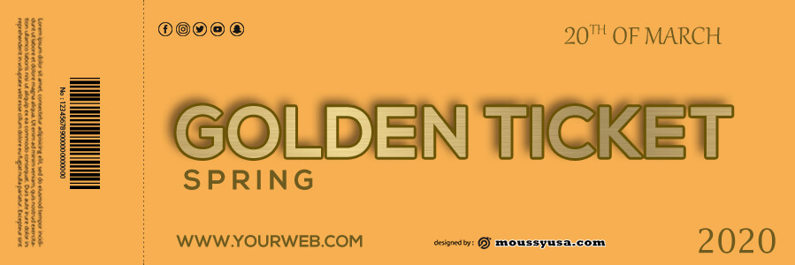 golden ticket templates psd template free
