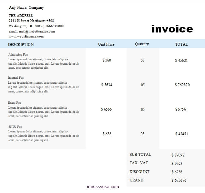 graphic design invoice template free download word