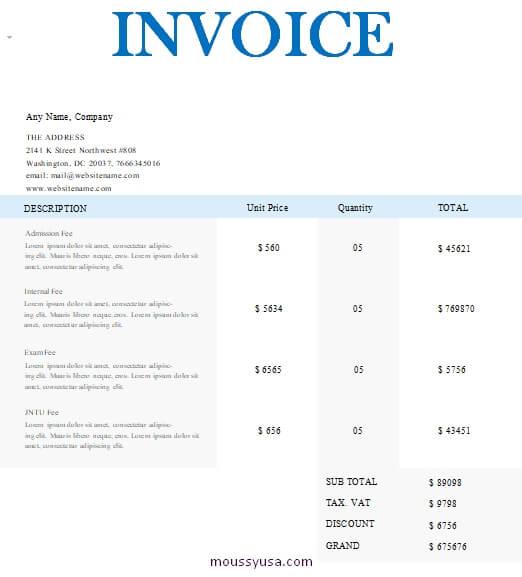 graphic design invoice template in word design