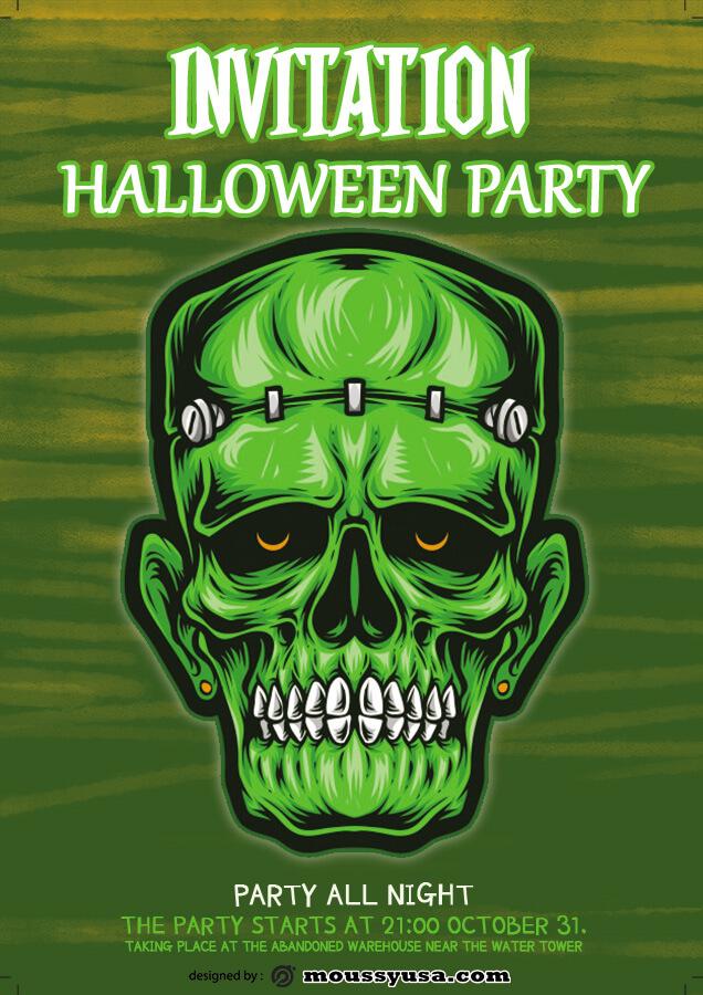 halloween party invitation customizable psd design template