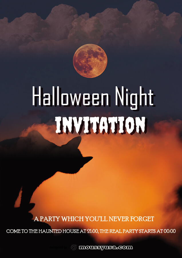 halloween party invitation in psd design