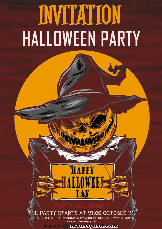 halloween party invitation psd template free