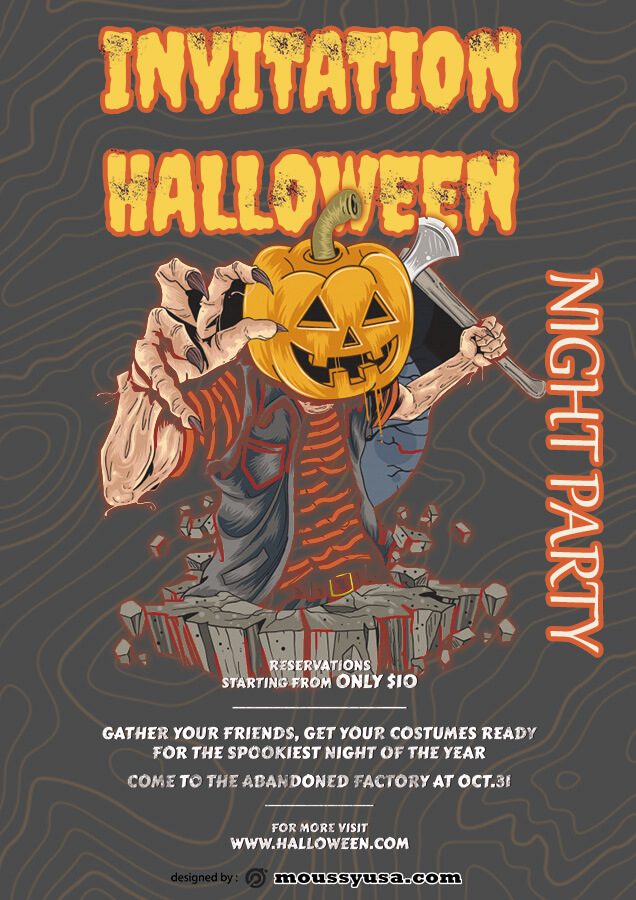 halloween party invitation template for photoshop