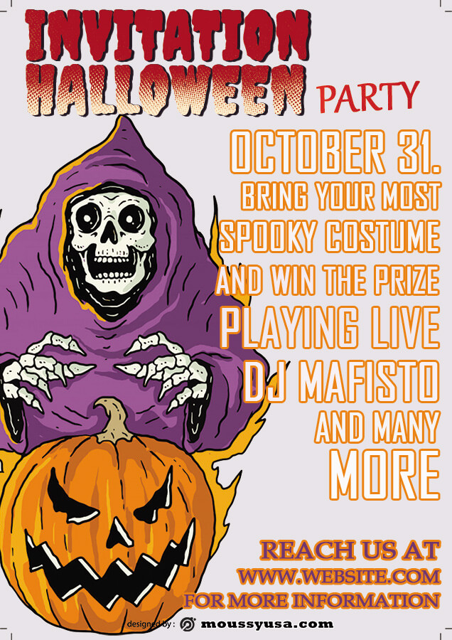 halloween party invitation template free psd