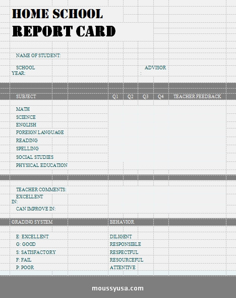 homeschool report card customizable word design template