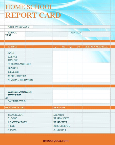 homeschool report card free download word