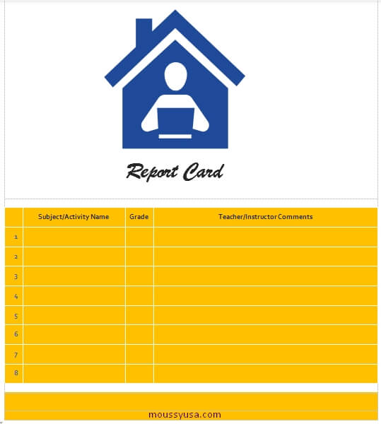 homeschool report card free word template