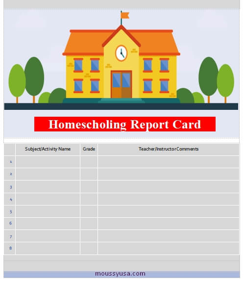 homeschool report card in word design