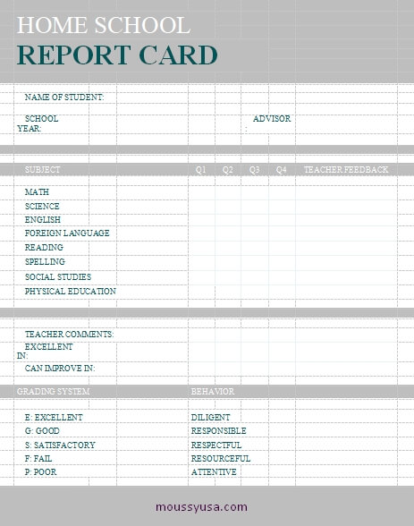 homeschool report card word template free