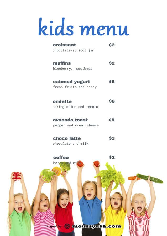 kids menu customizable psd design template