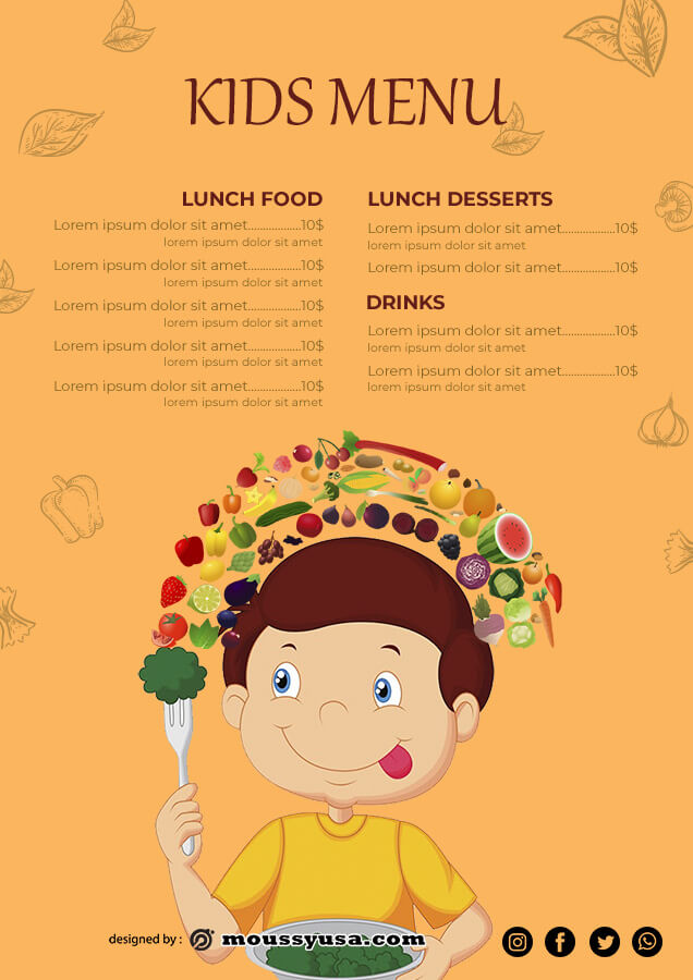 kids menu example psd design