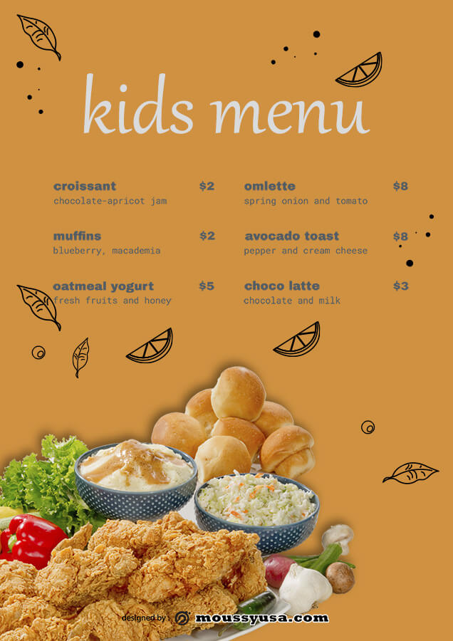 kids menu free download psd