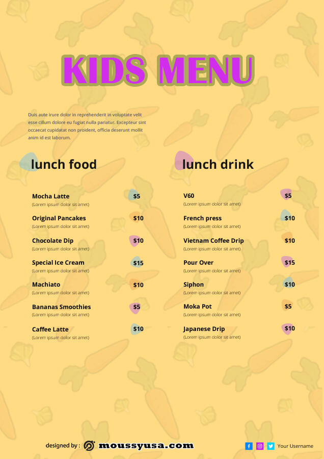 kids menu free psd template