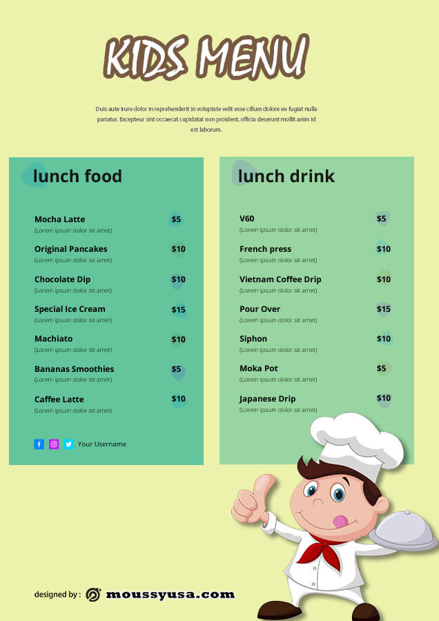 kids menu in photoshop free download