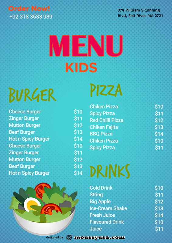 kids menu in photoshop