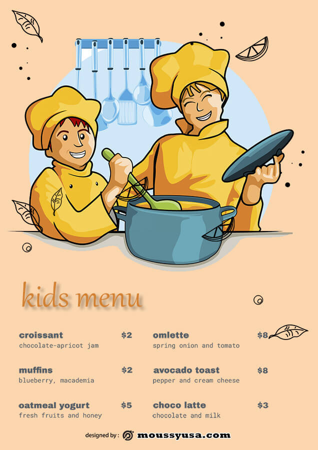 kids menu in psd design