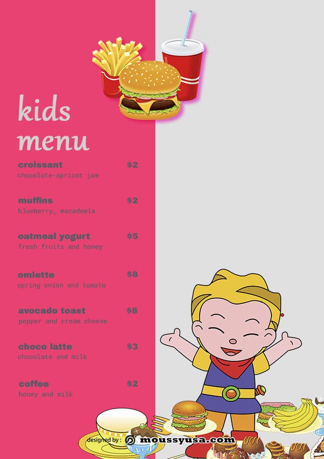 kids menu psd template free