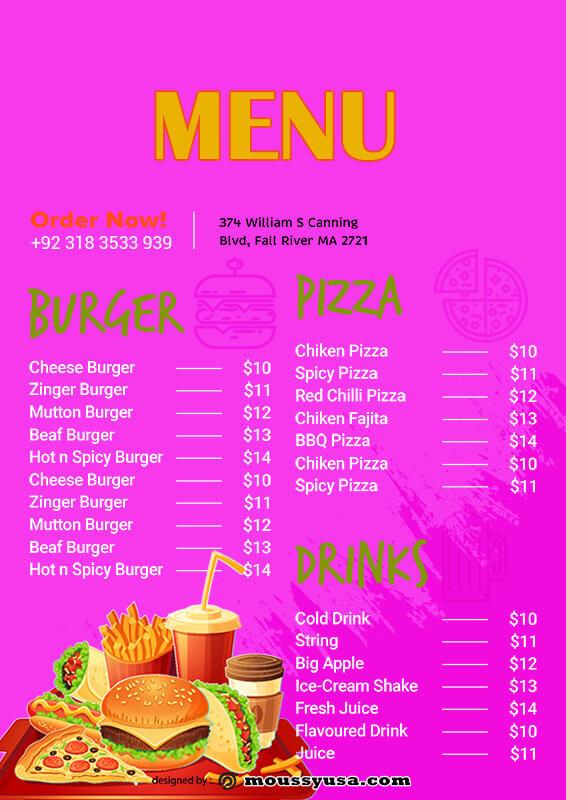 kids menu template free psd