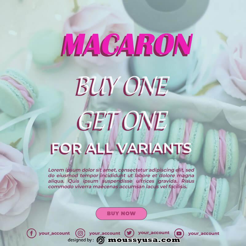 macaron template customizable psd design template