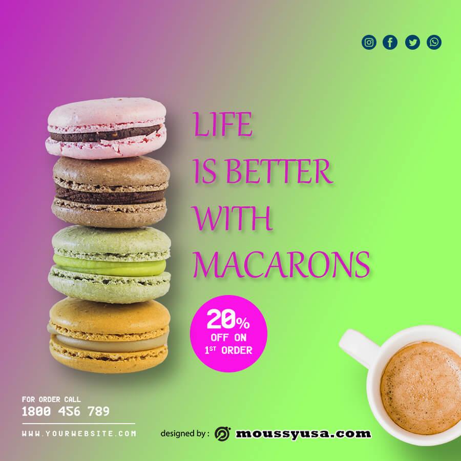 macaron template example psd design